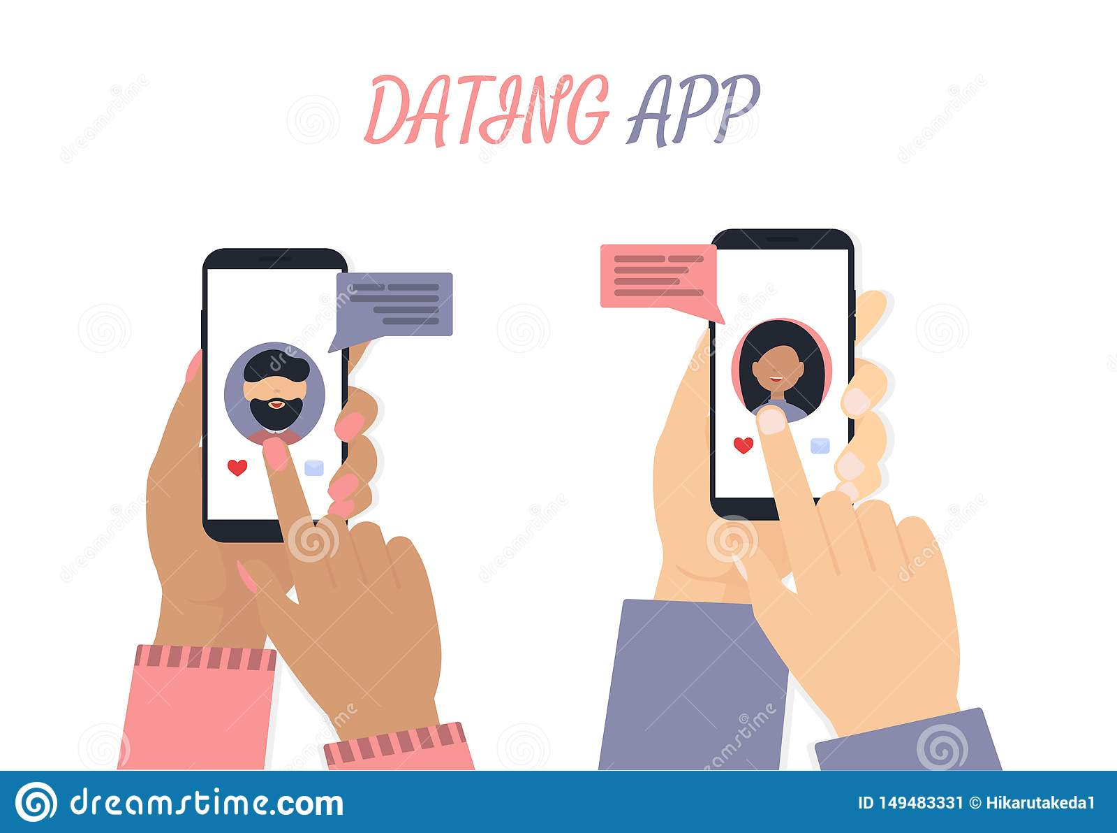 Руки человека и женщины с предпосылкой приложения телефона белой