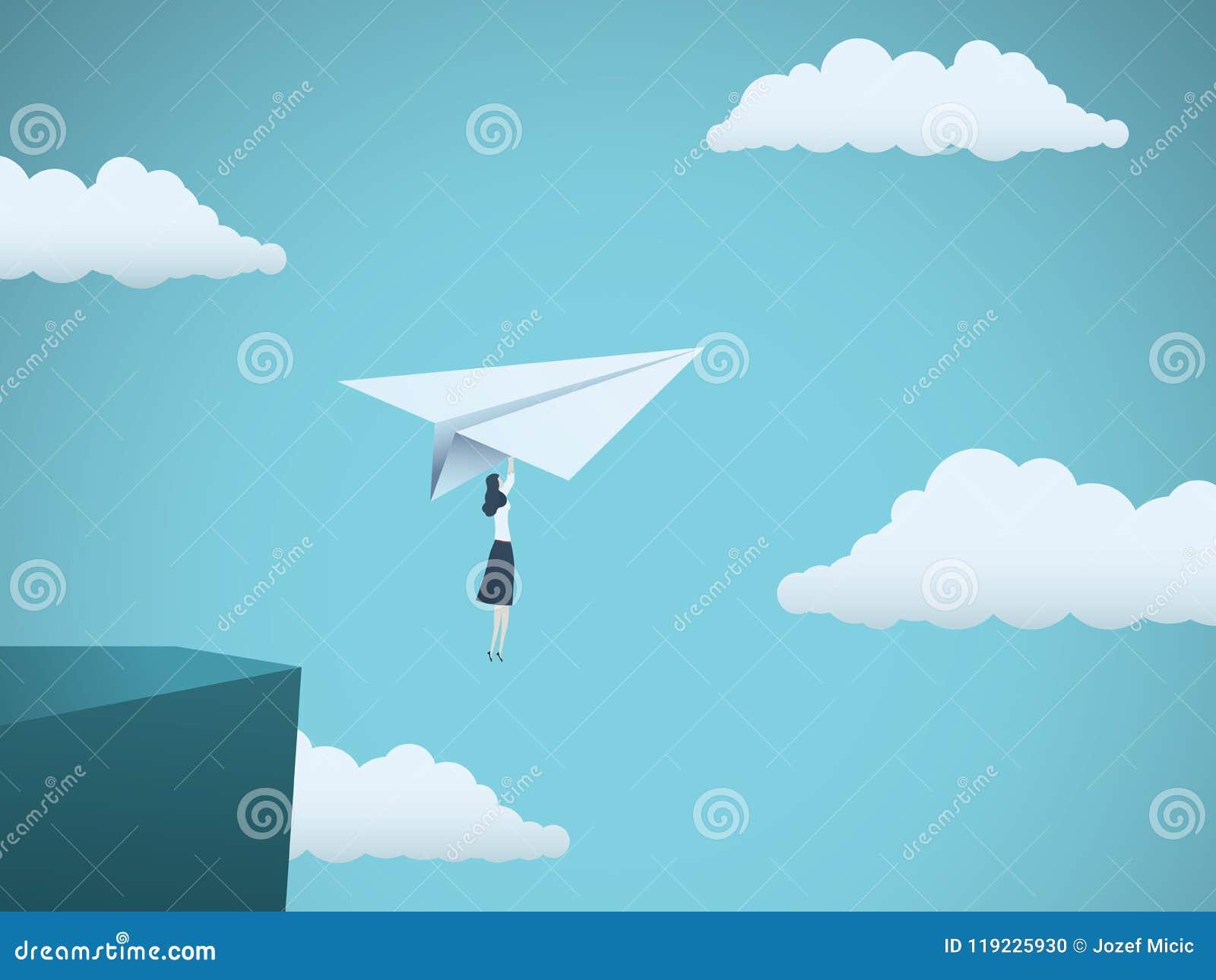 Руководитель женщины в концепции вектора дела Летание коммерсантки на самолете бумаги с скалы как символ силы женщины