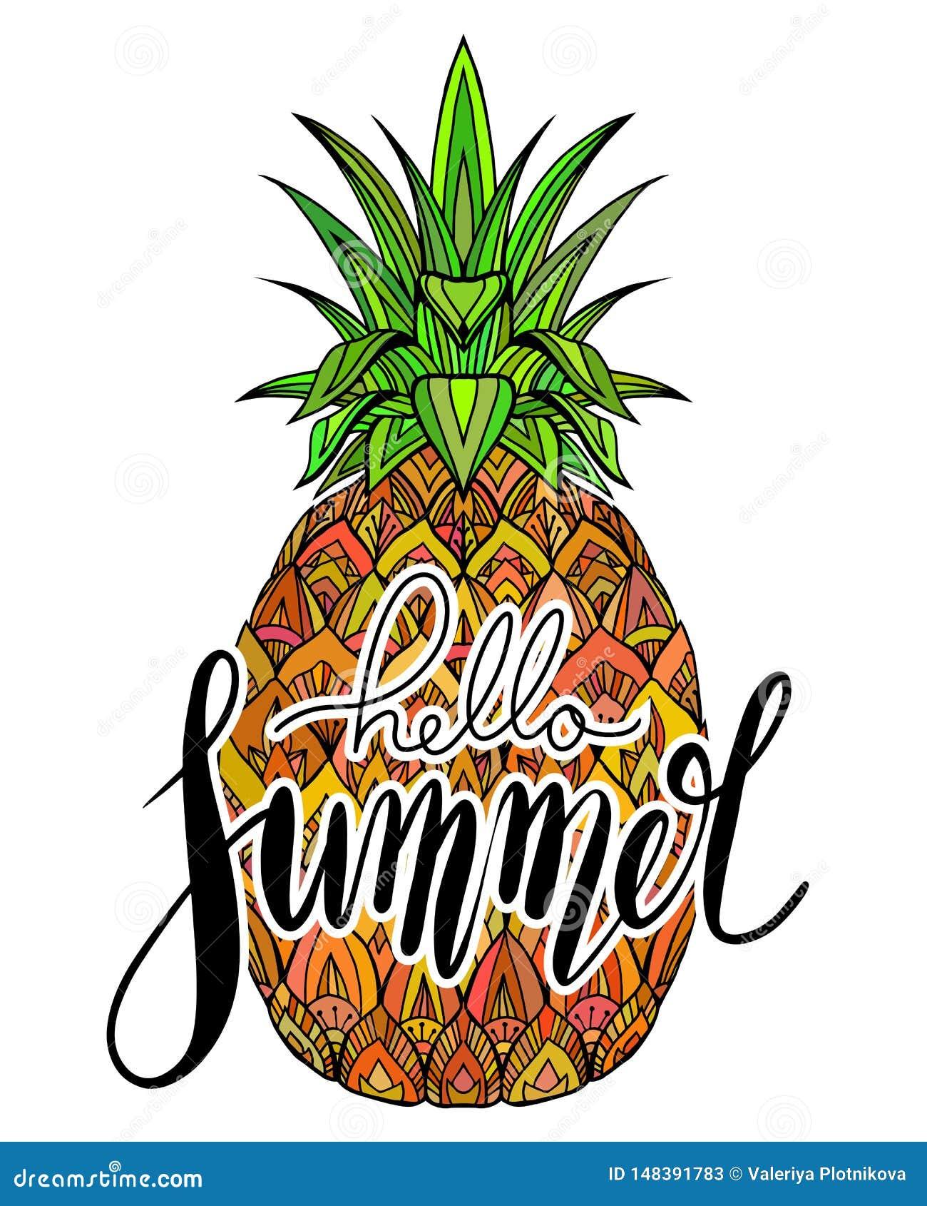 Рукописное помечая буквами лето здравствуйте Сочный ананас с картиной boho Сезон каникул