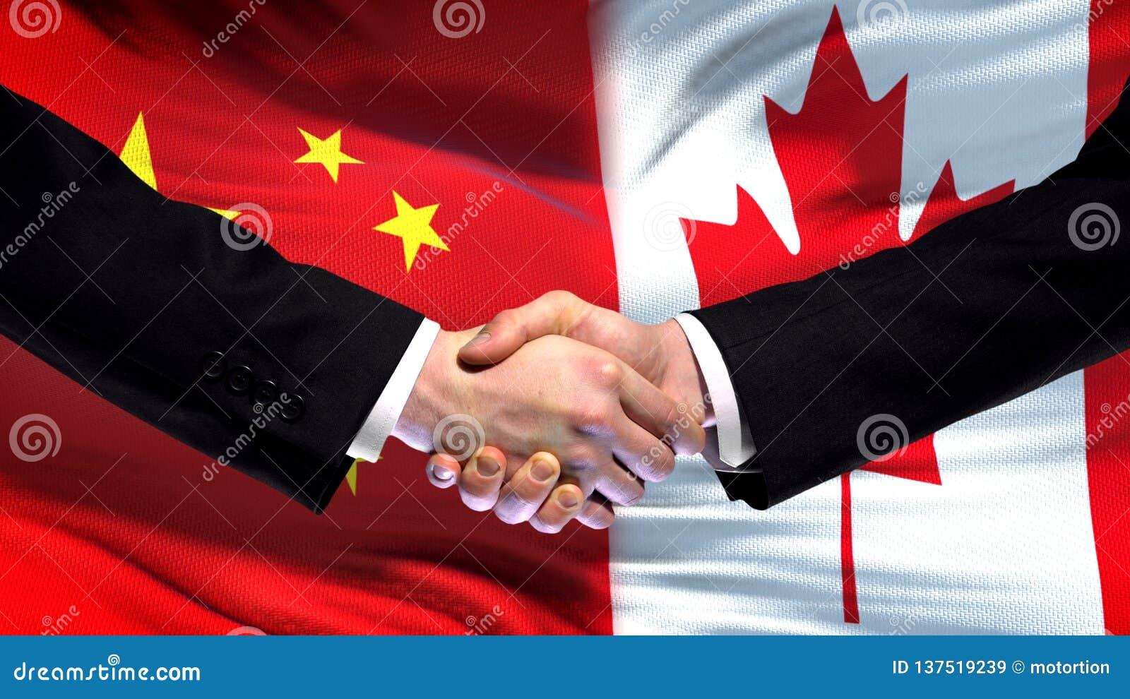 Рукопожатие Китая и Канады, международные отношения приятельства, предпосылка флага