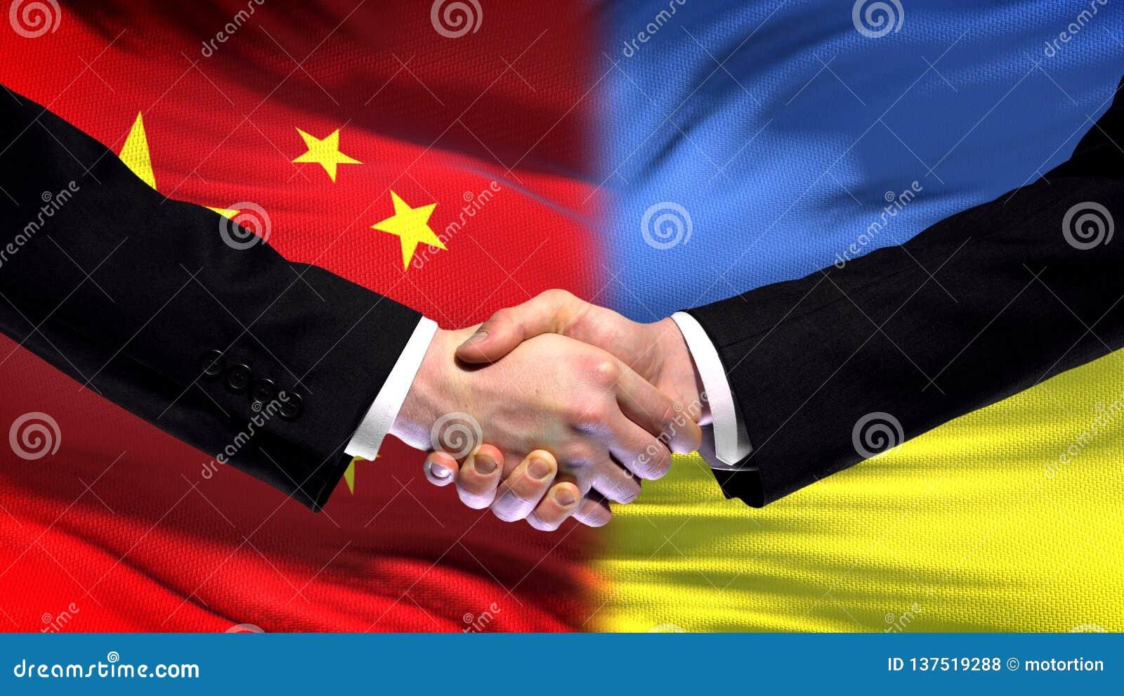 Рукопожатие Китая и Украины, международные отношения приятельства, предпосылка флага
