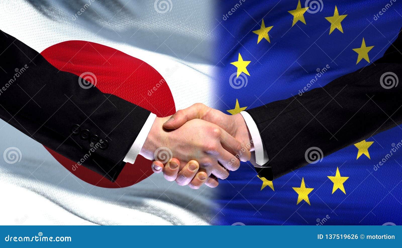 Рукопожатие Японии и Европейского союза, международное приятельство, предпосылка флага