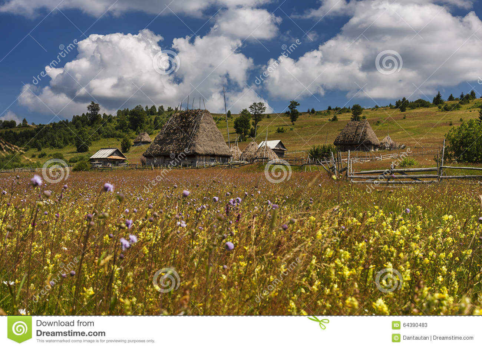 Румынская традиционная деревня с старым амбаром или лачуга с крышей соломы