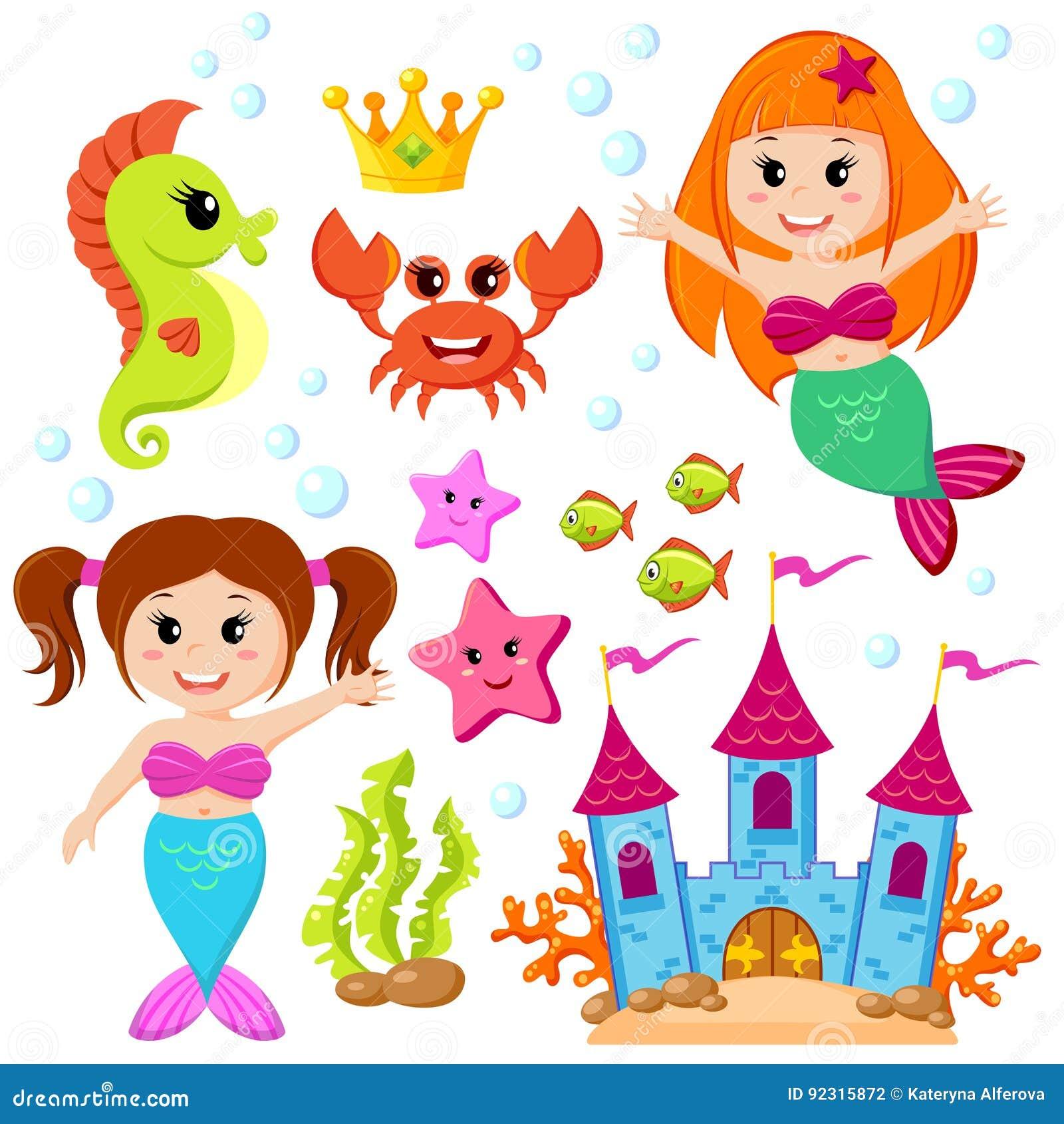 русалка подводный замок и морские животные рыбы морские