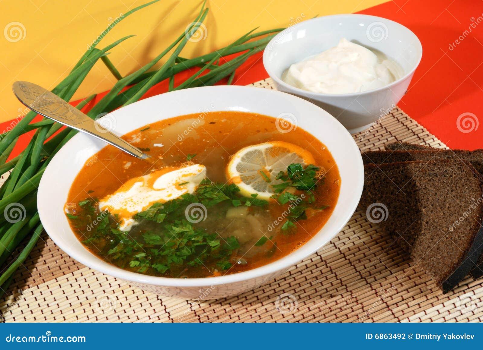 русский суп solyanka традиционный