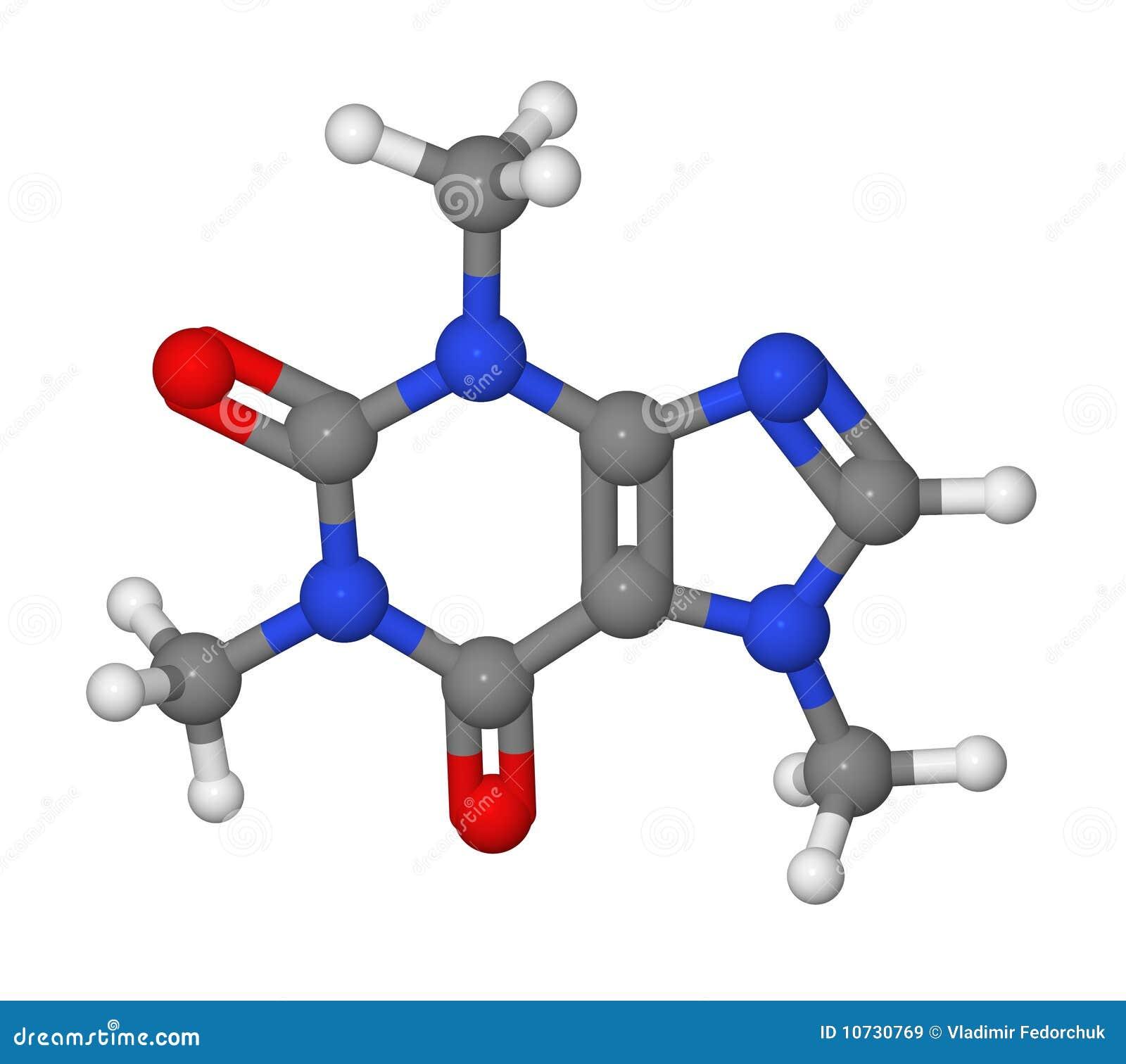 ручка молекулы модели кофеина шарика