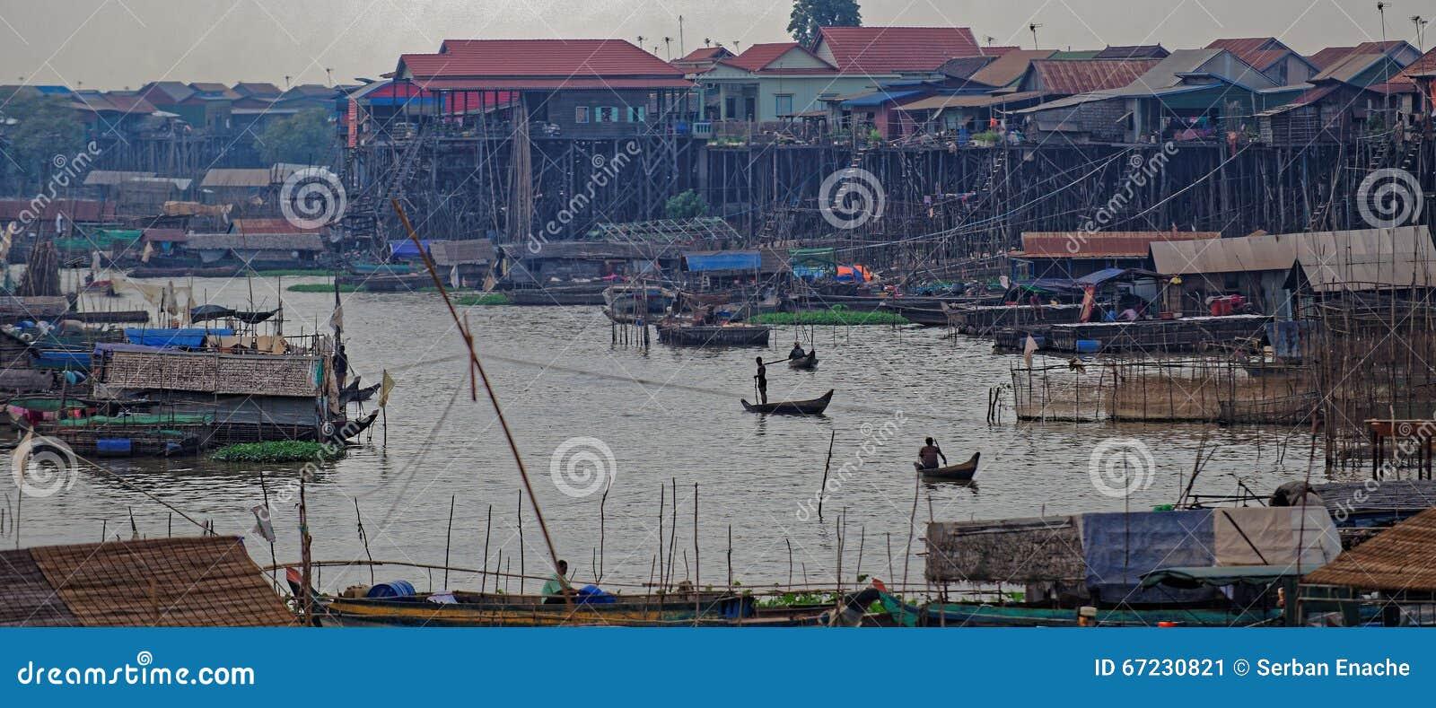 Рыбацкий поселок сока Tonle, Камбоджа