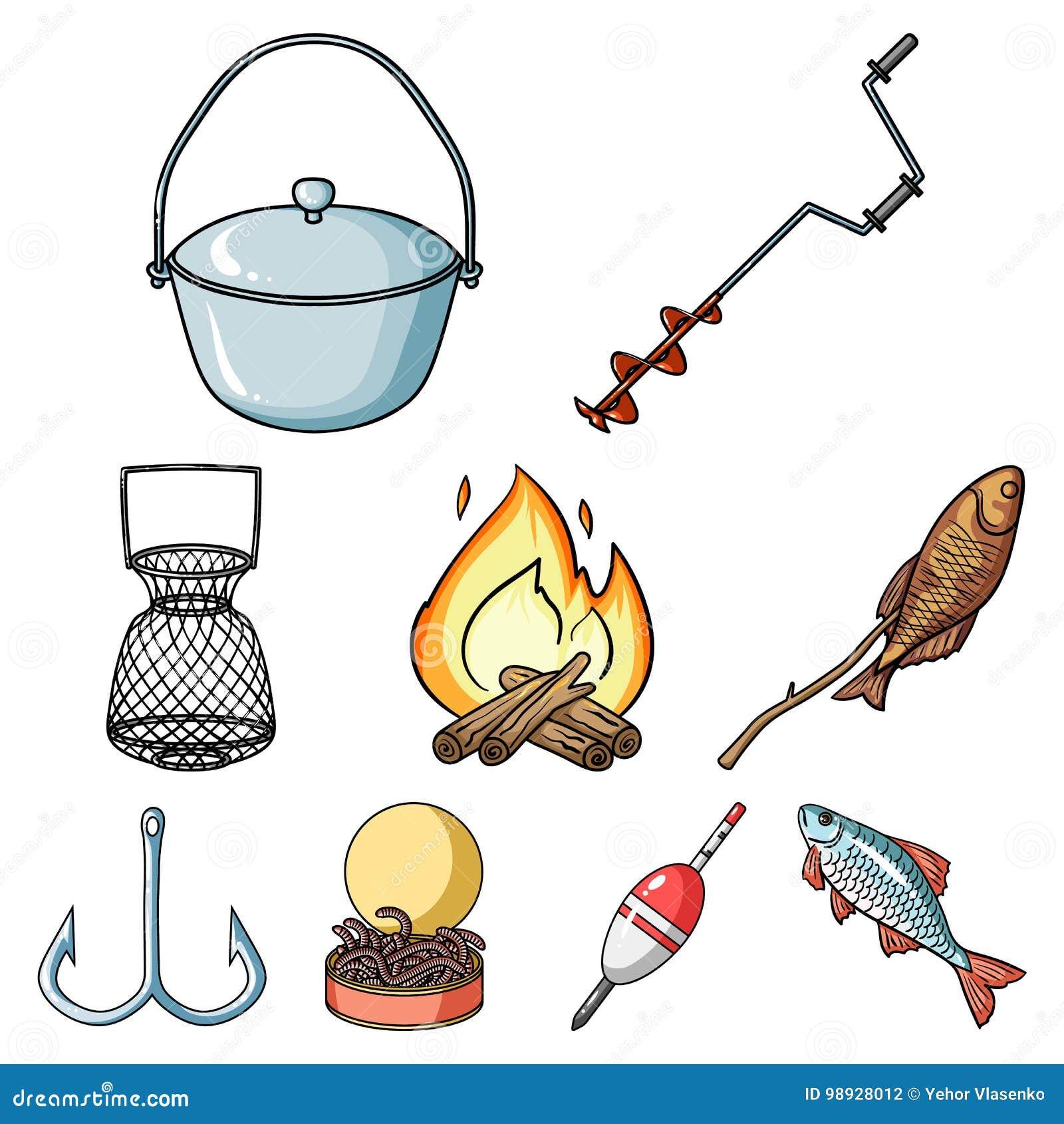 Рыбная ловля лета и зимы, внешнее воссоздание, рыбная ловля, рыба Значок рыбной ловли в собрании комплекта на векторе стиля шаржа