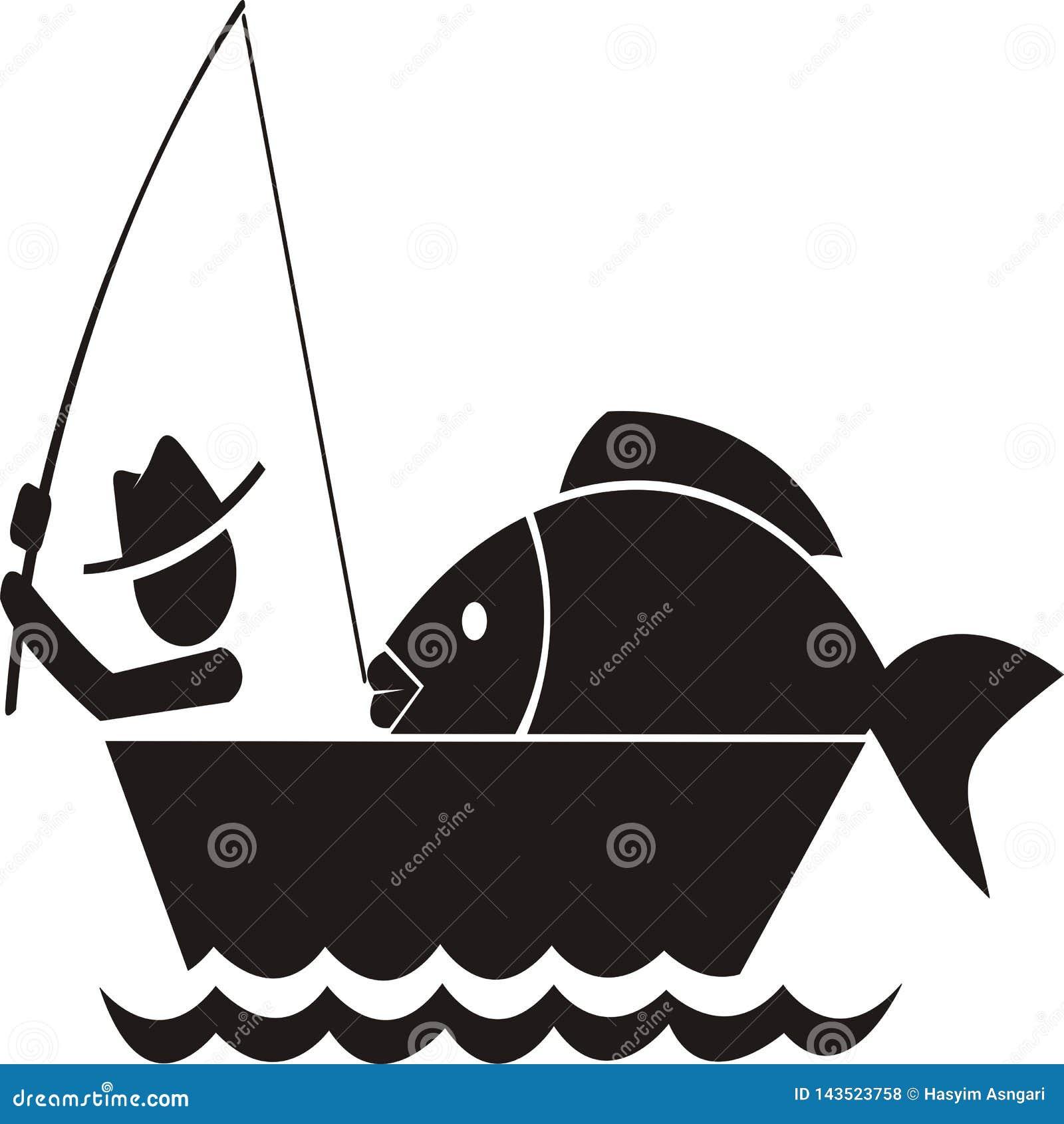 Рыбная ловля получает большой вектор значка рыб