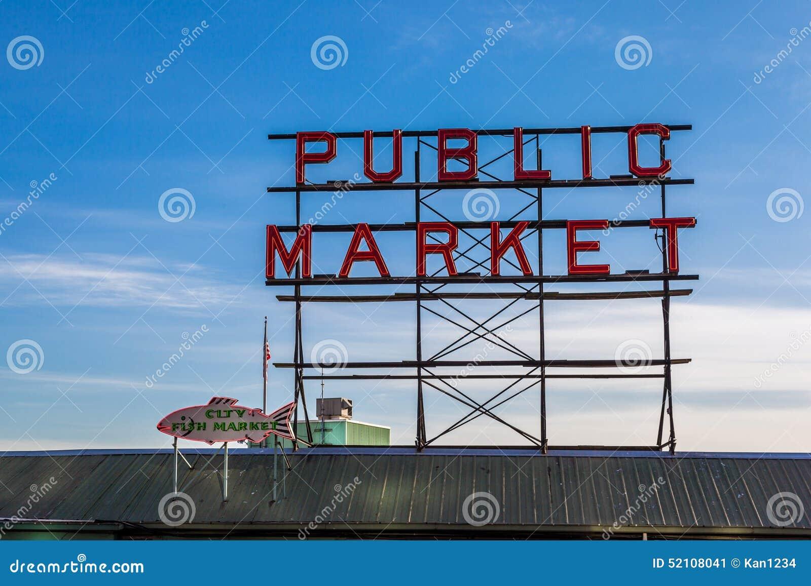 Рыбный базар места Pike подписывает внутри городской Сиэтл