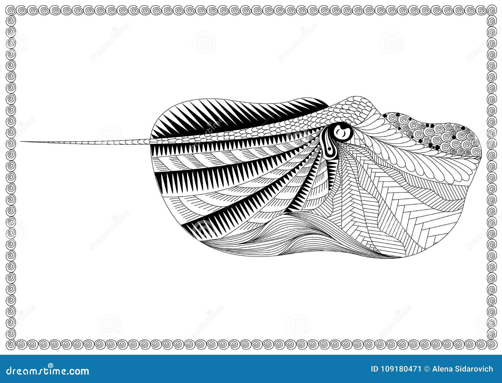 Рыбы в искусстве стиля Дзэн на белой предпосылке, пандусе