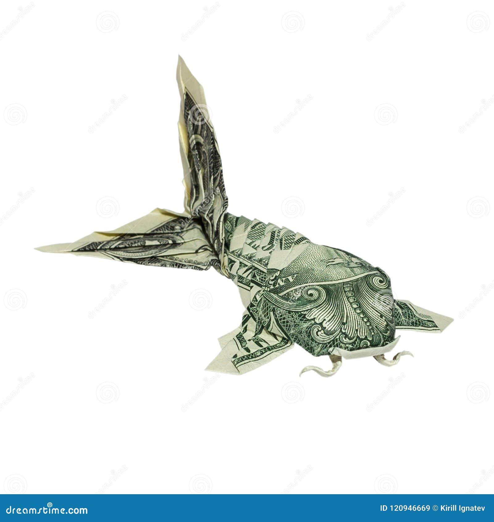 РЫБЫ Origami KOI денег сложенные с реальной одной долларовой банкнотой