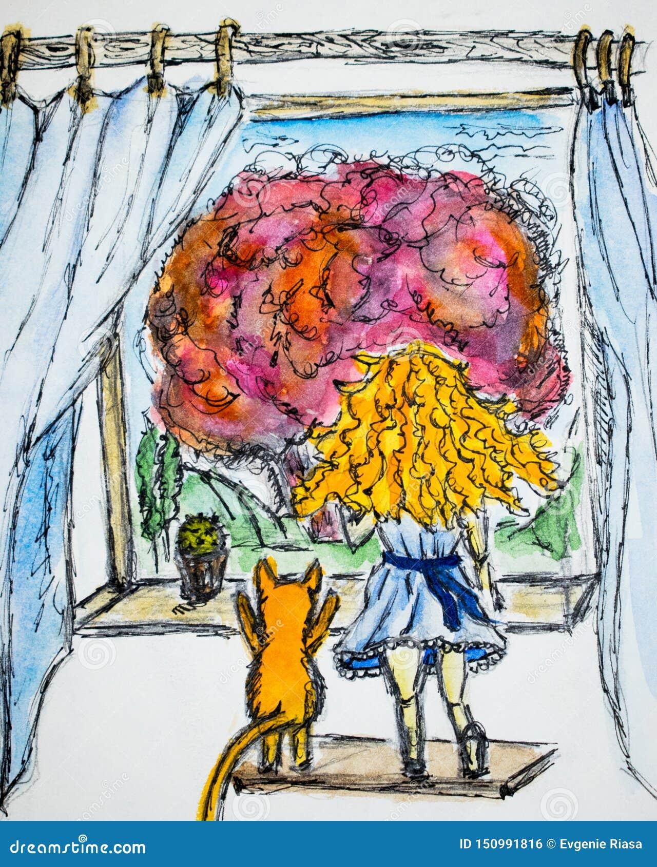 Рыжеволосая девушка с вьющиеся волосы рядом с красным котом, они смотрят вне чертеж акварели окна, иллюстрацию