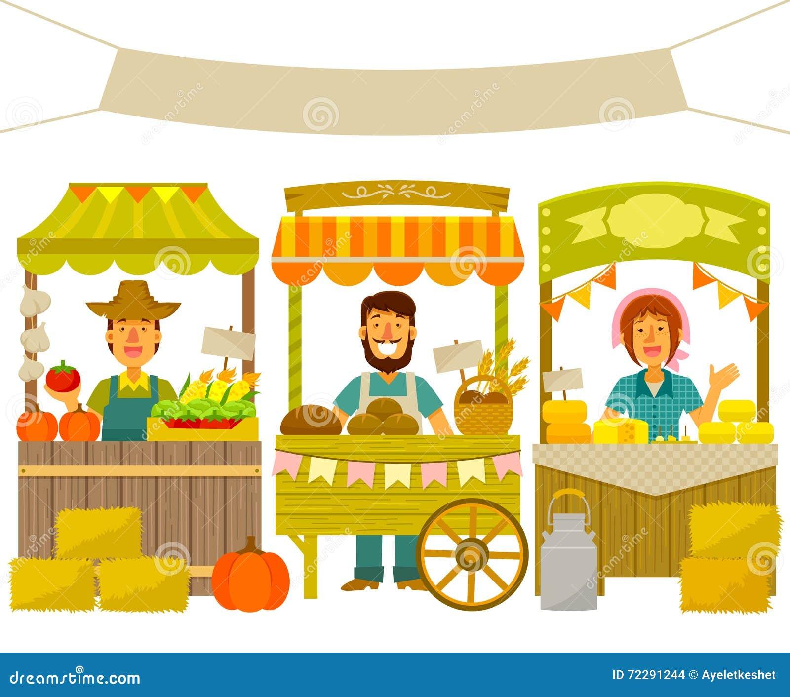 Download Рынок фермеров иллюстрация вектора. иллюстрации насчитывающей aiders - 72291244