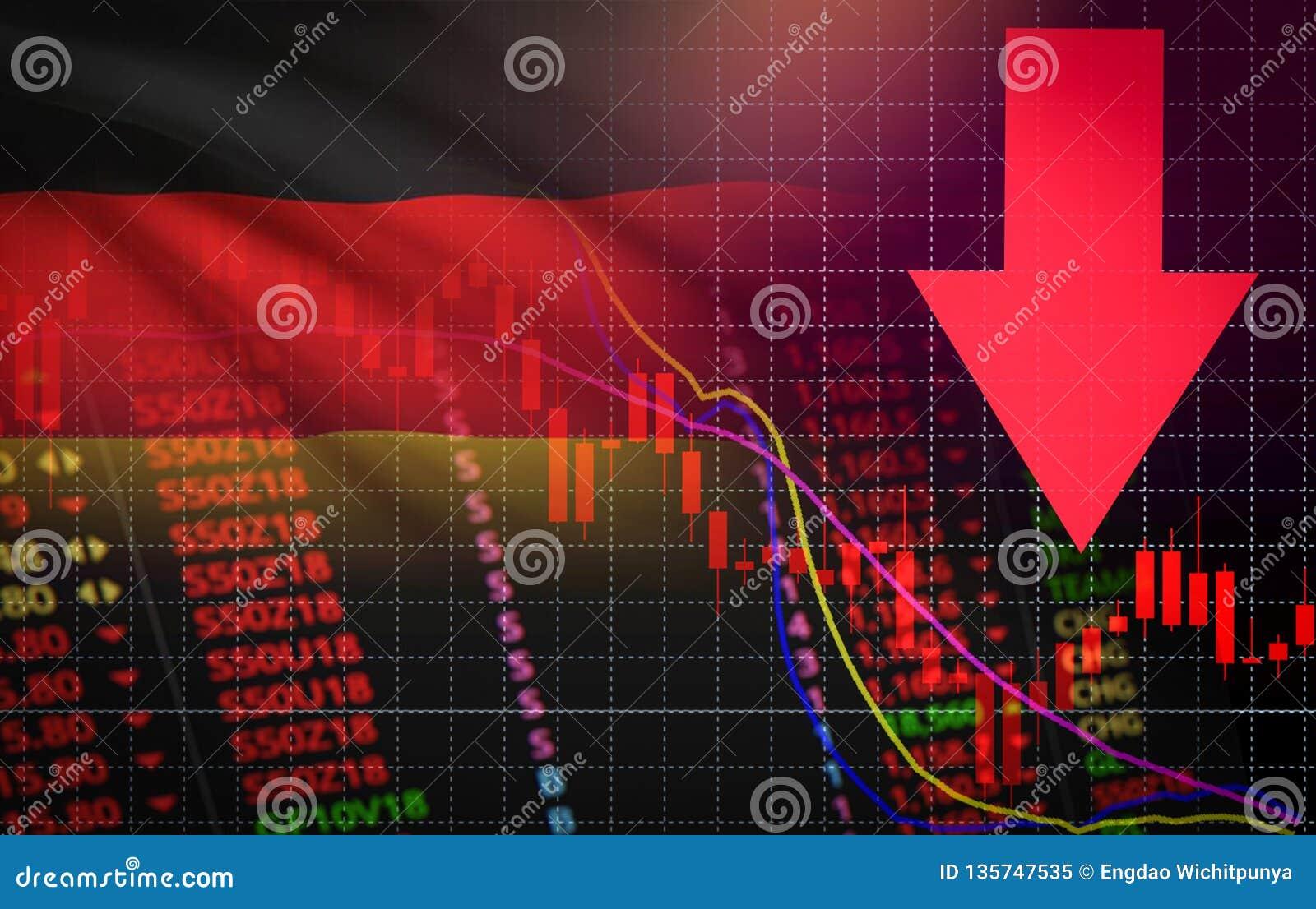 Рыночная цена кризиса валютного рынка фондовой биржи Германии красная вниз с дела падения диаграммы и падение продаж кризиса дене