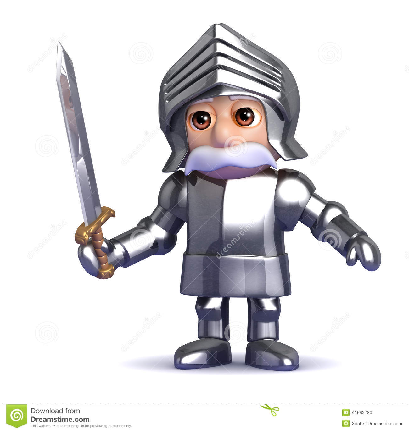 рыцарь 3d при нарисованная шпага