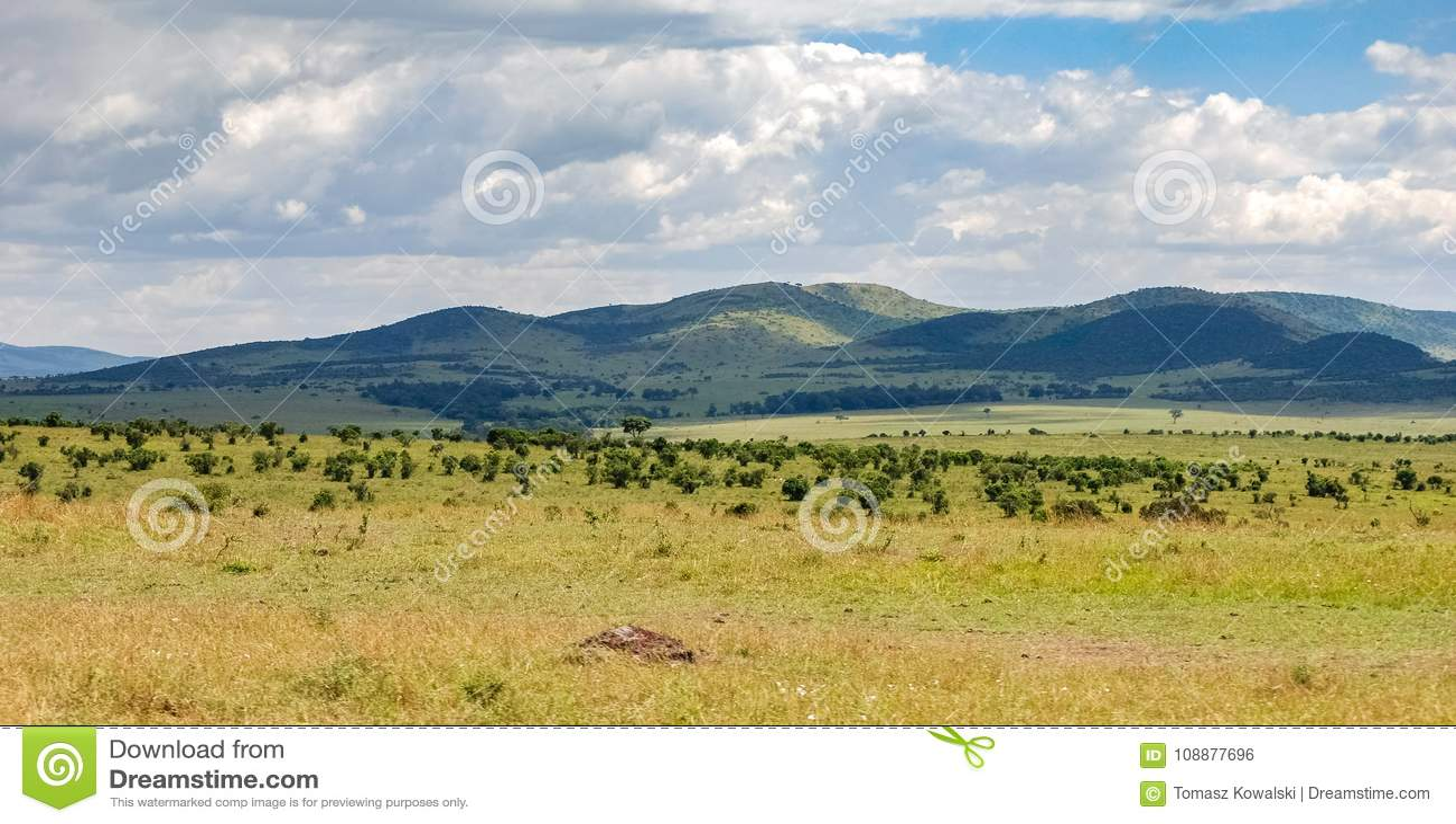 Саванна в национальном заповеднике Mara Masai, Кении