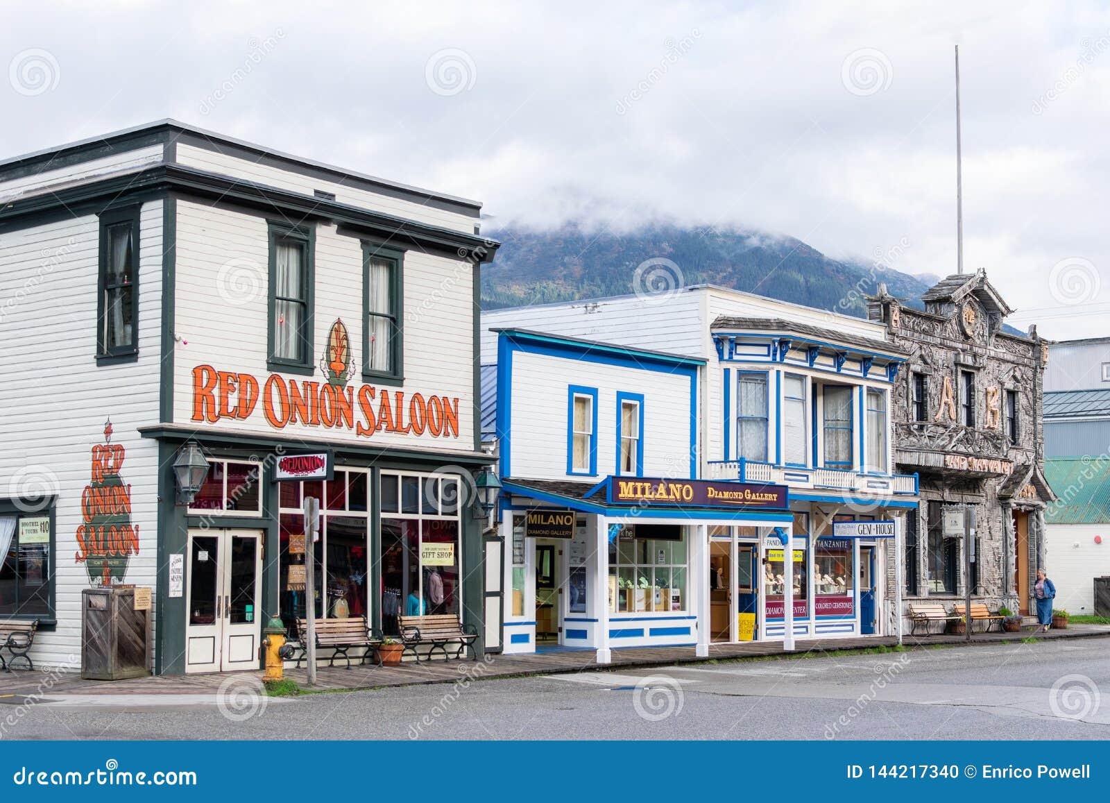 Салон красного лука, лагерь Skagway никакое 1 и магазины украшений в Skagway Аляске