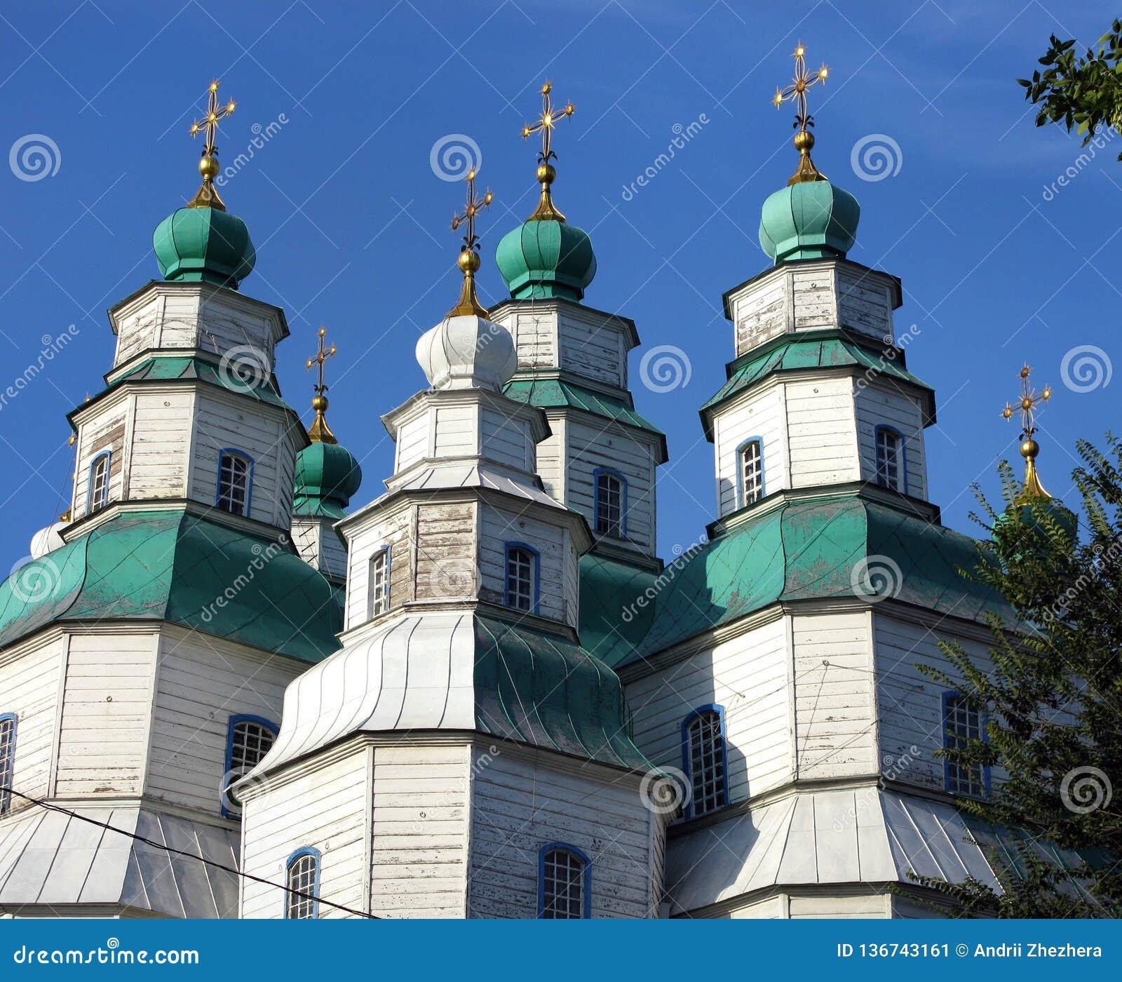 Самая большая деревянная церковь Украины, собора святой троицы в Novomoskovsk