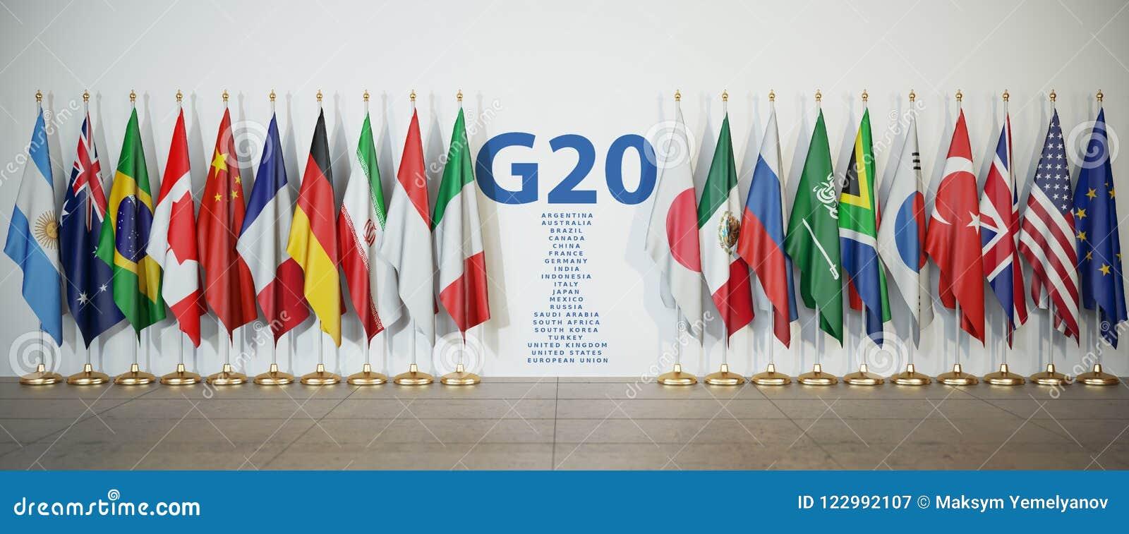 Саммит G20 или концепция встречи Строка от флагов членов G20