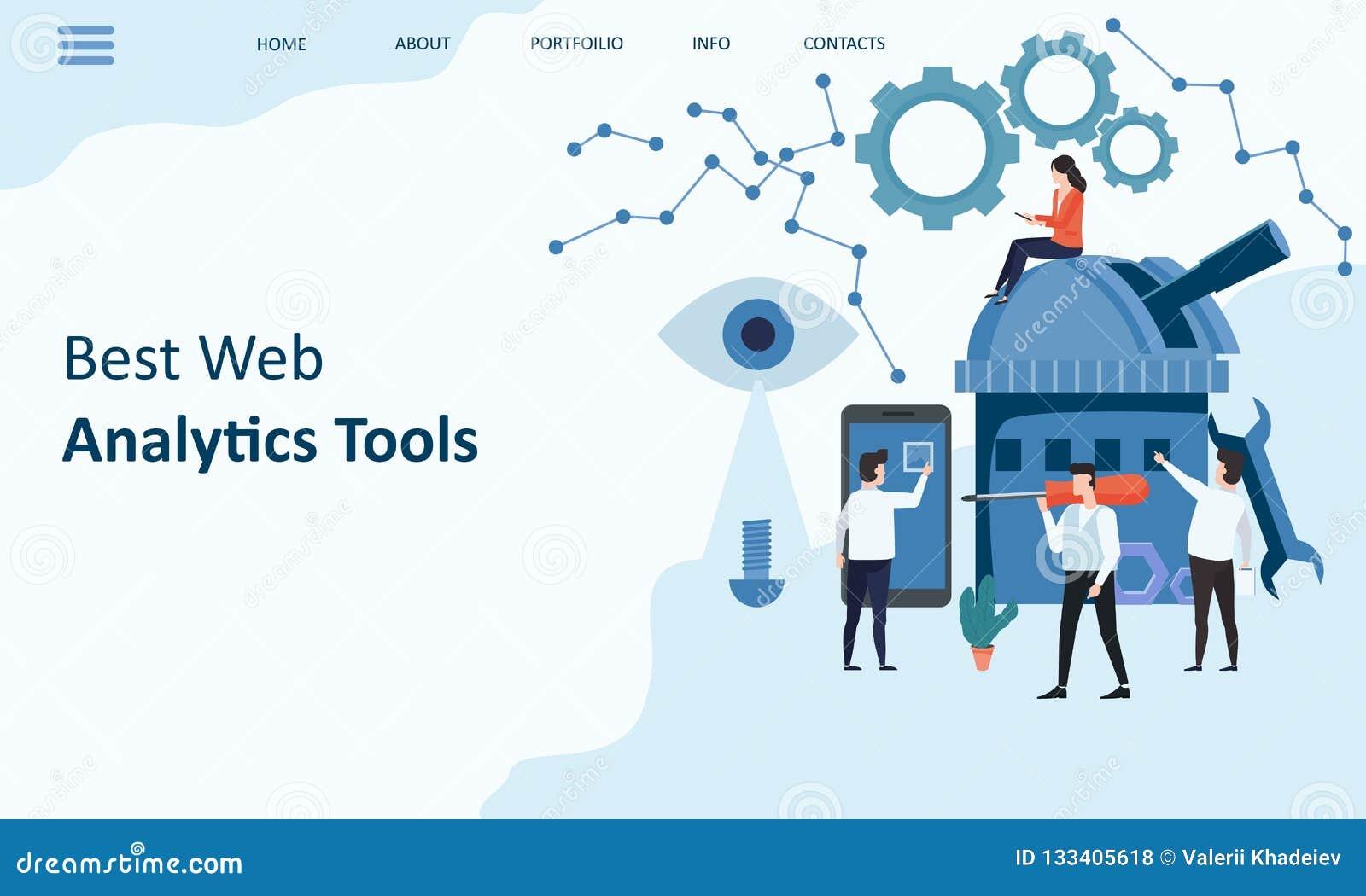 Самые лучшие инструменты аналитика сети Дизайн вебсайта страницы модель-макета приземляясь Идея проекта современной тенденции пло