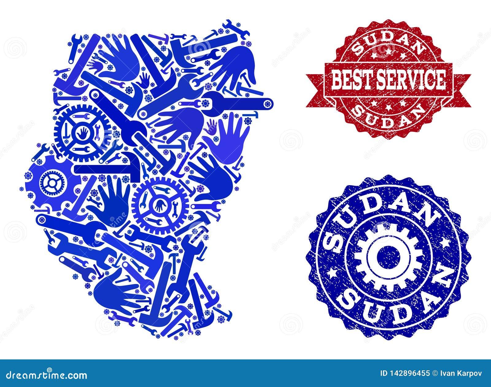 Самый лучший состав обслуживания карты печатей Судана и Grunge