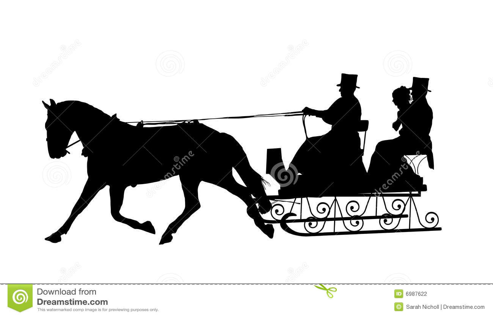 дед мороз на санях с лошадьми картинки силуэт вариант самый