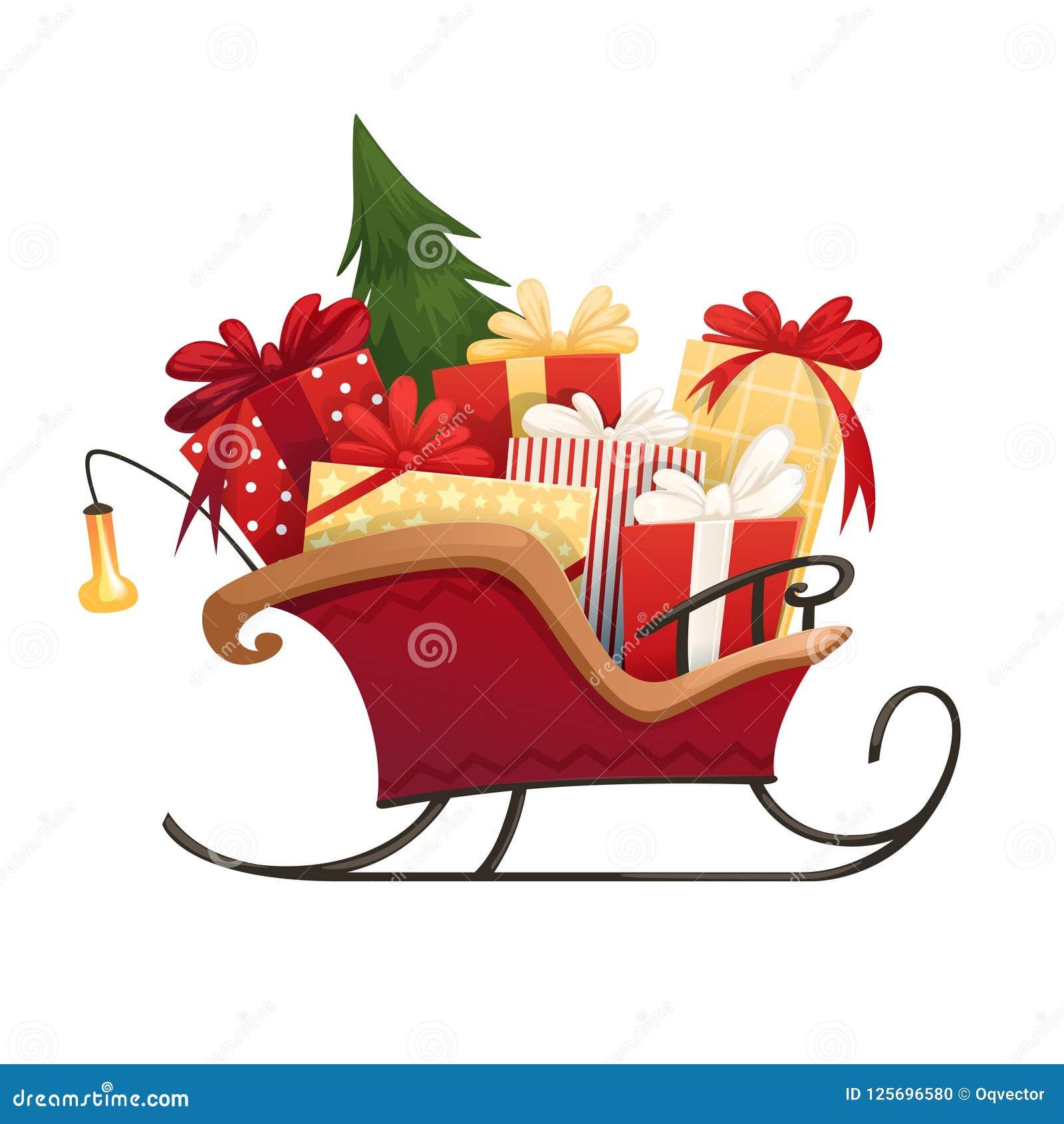 Сани ` s Санты с коробками подарков рождества с смычками и рождественской елкой