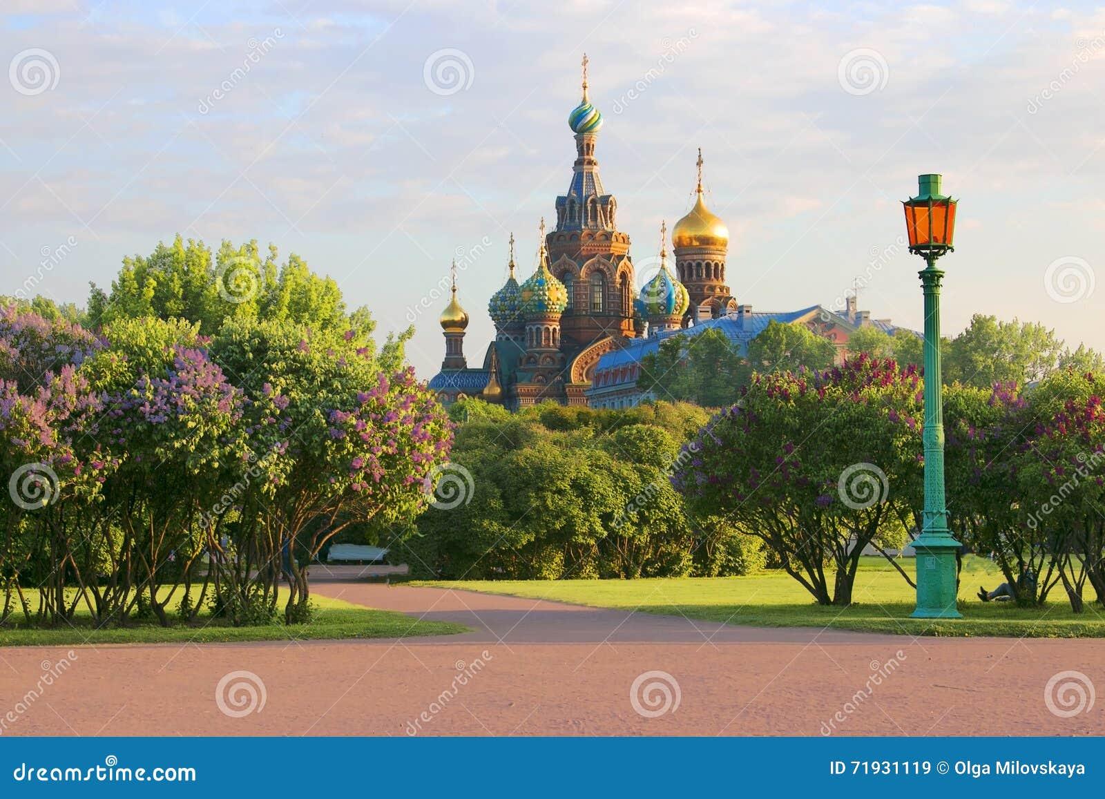 Санкт-Петербург Россия Взгляд православной церков церков спасителя на крови