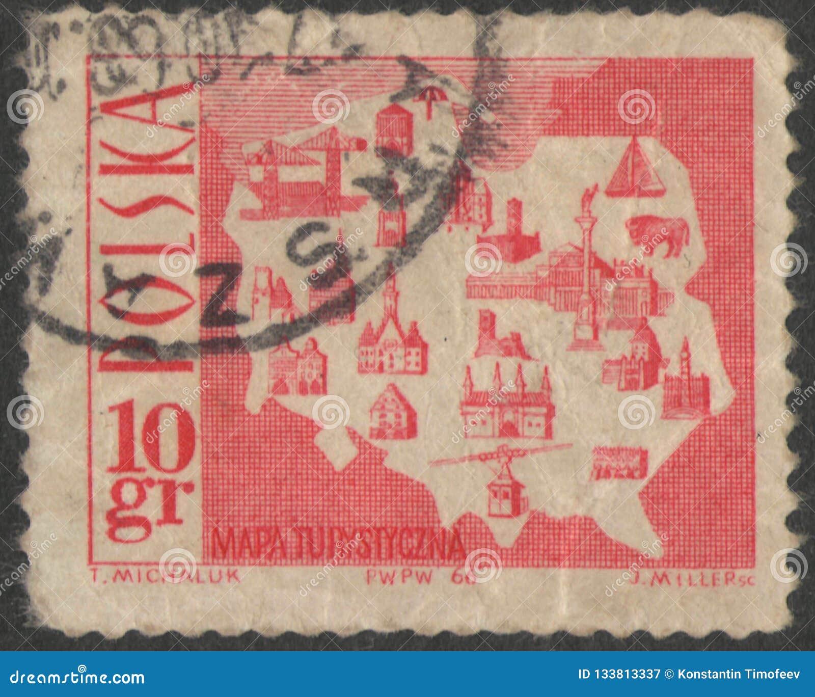 Санкт-Петербург, Россия - 27-ое ноября 2018: Печать почтового сбора напечатанная в Польше с изображением туристской карты, около