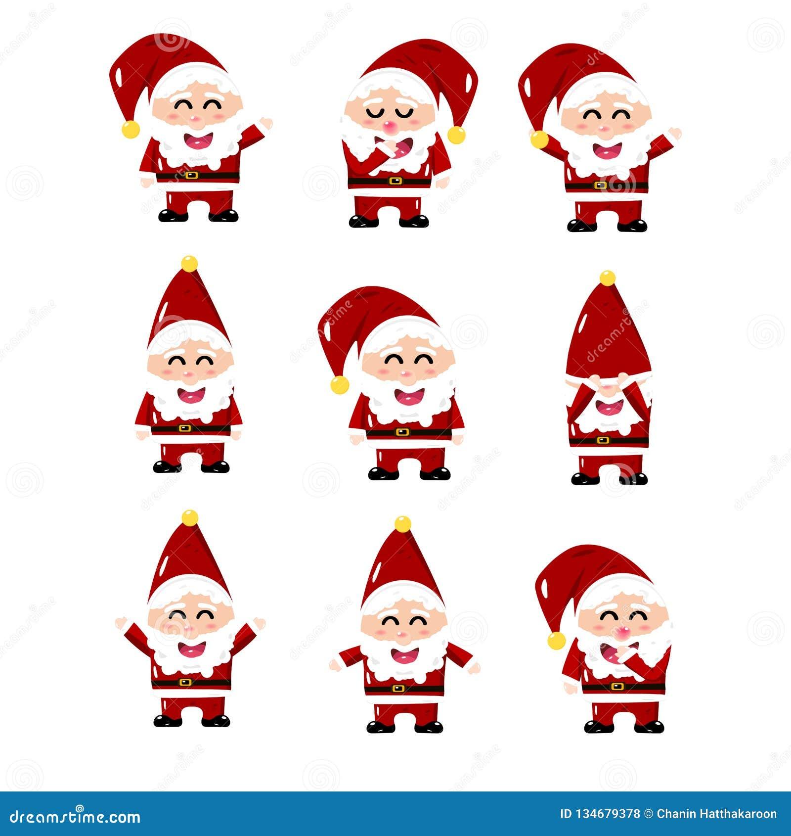 Санта Клаус, вектор мультфильма установил собрание, милый стиль, изолированный на белой иллюстрации предпосылки