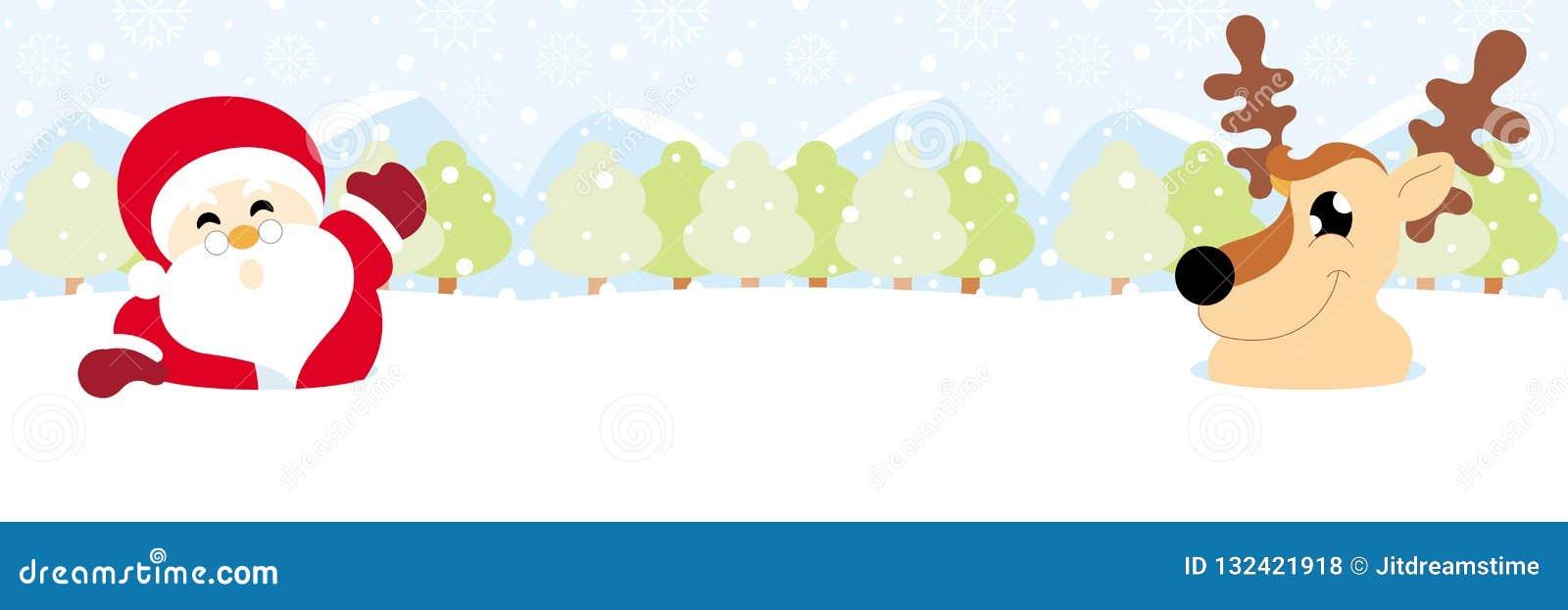Санта Клаус и северный олень на снеге с рождеством снежинки