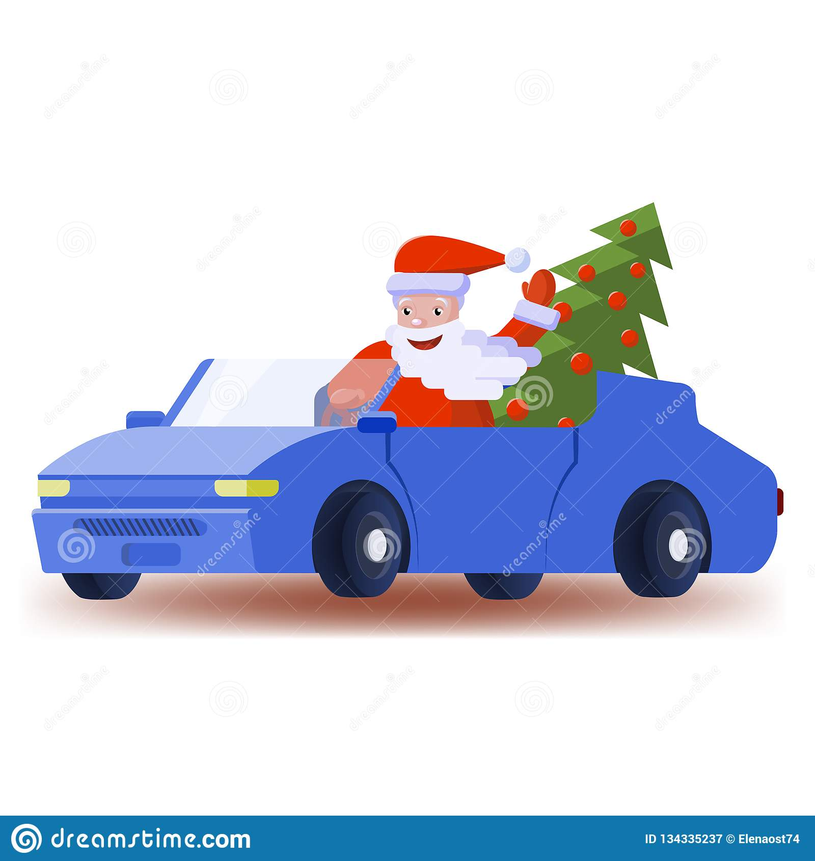 Санта Клаус управляет автомобилем с элегантной рождественской елкой