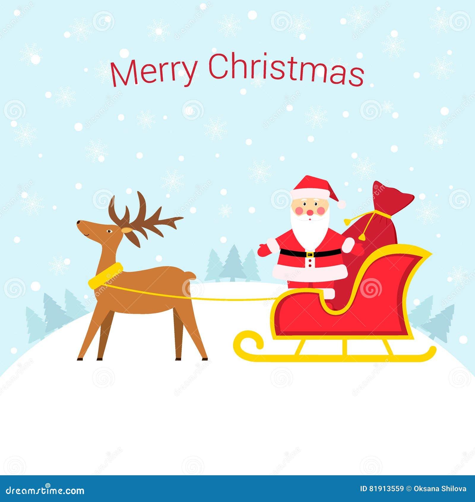 Санта Клаус в санях с северным оленем