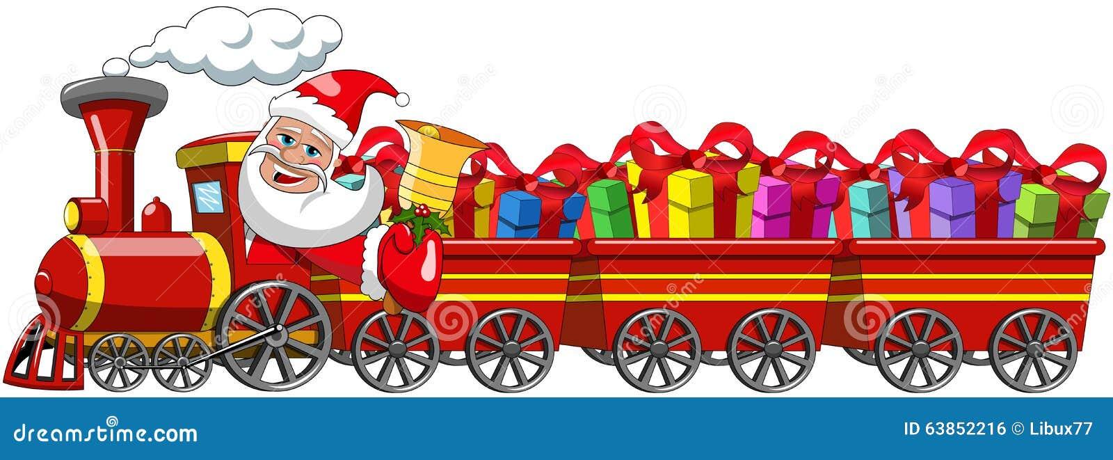 Санта Клаус поставляя подарки управляя фурами локомотива пара