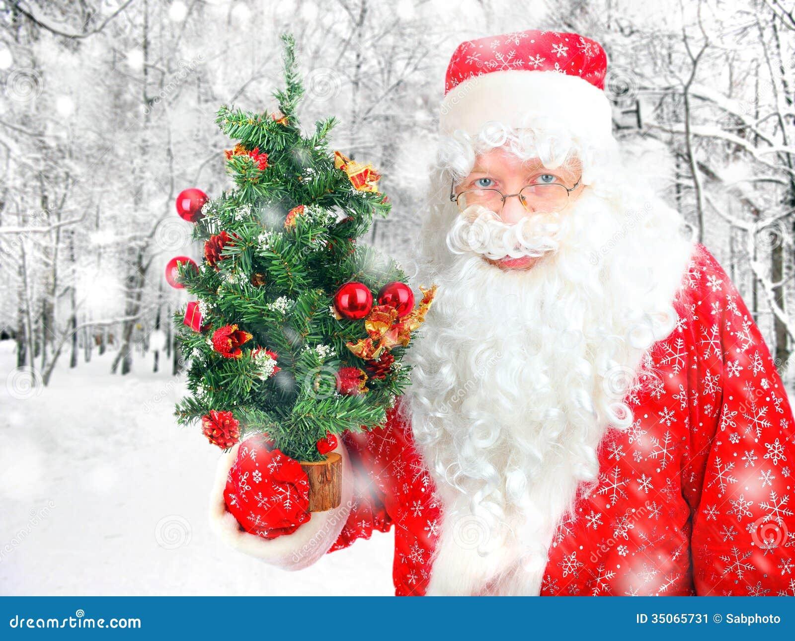 Санта Клаус с рождественской елкой
