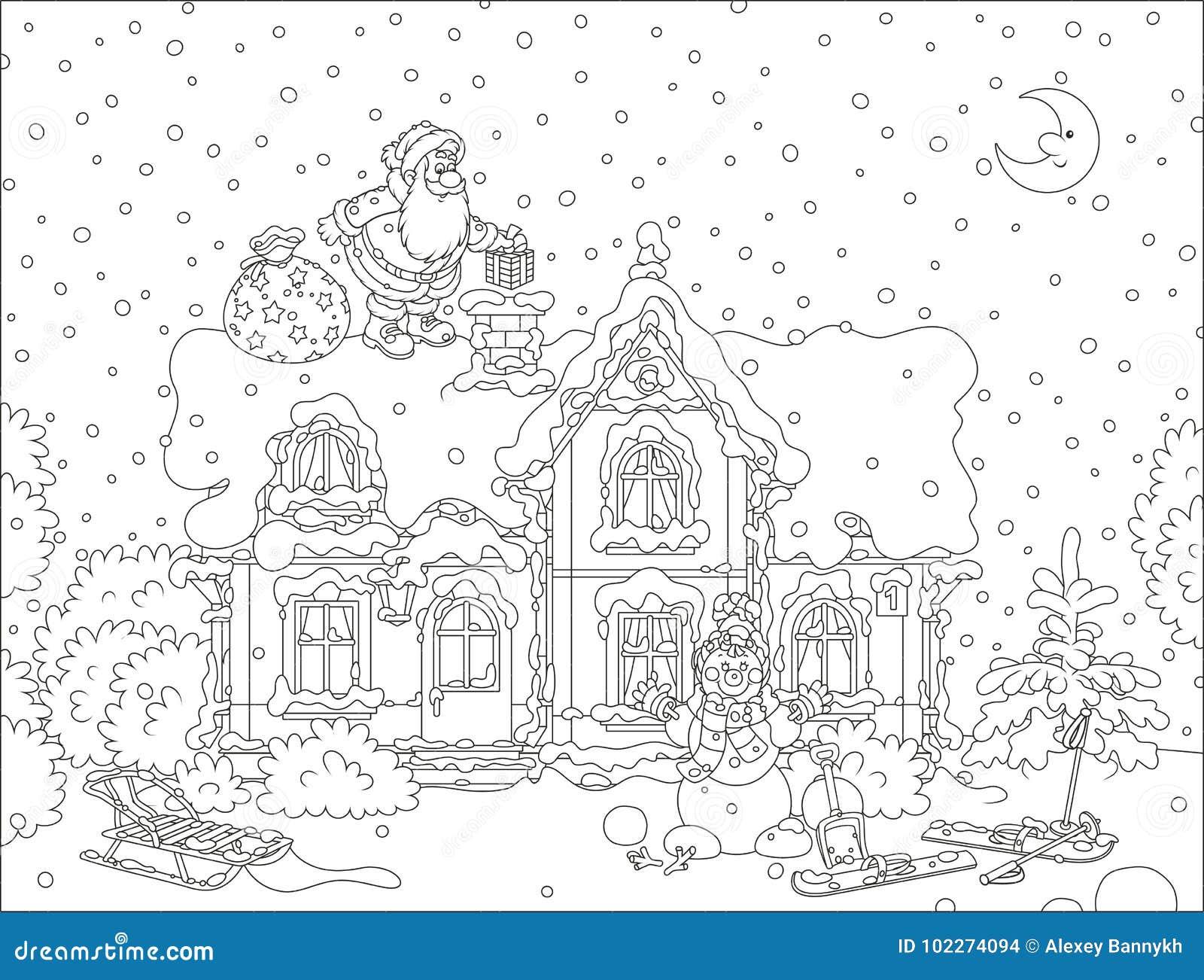 Санта с подарками на крыше