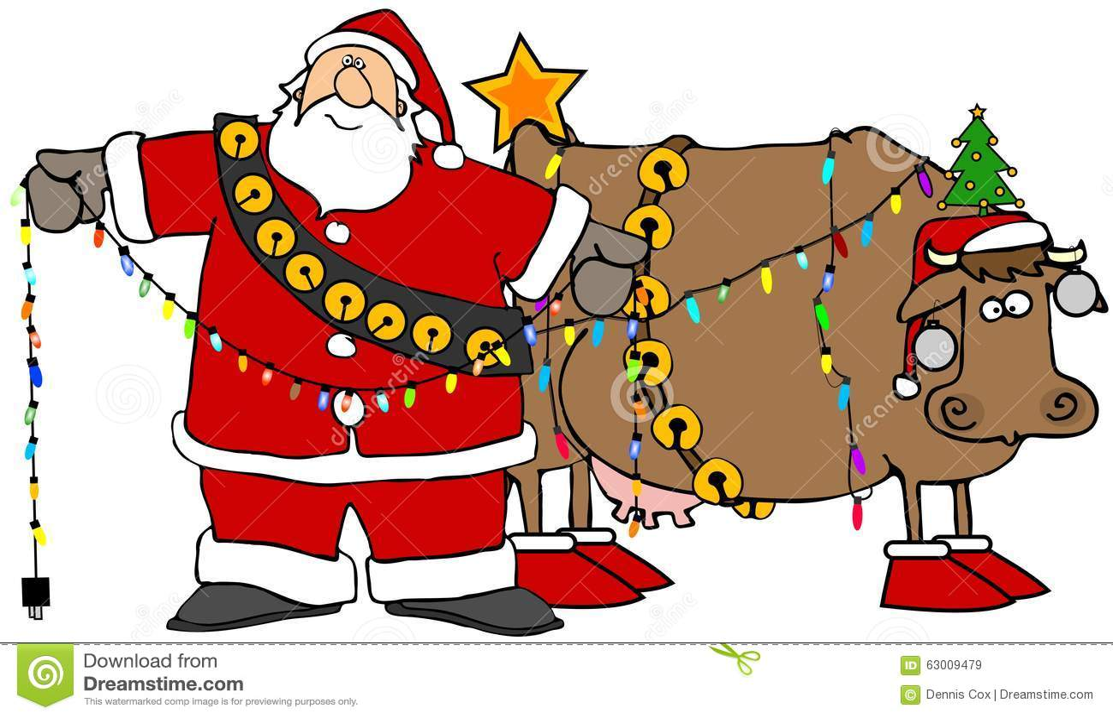 Санта украшая его корову рождества
