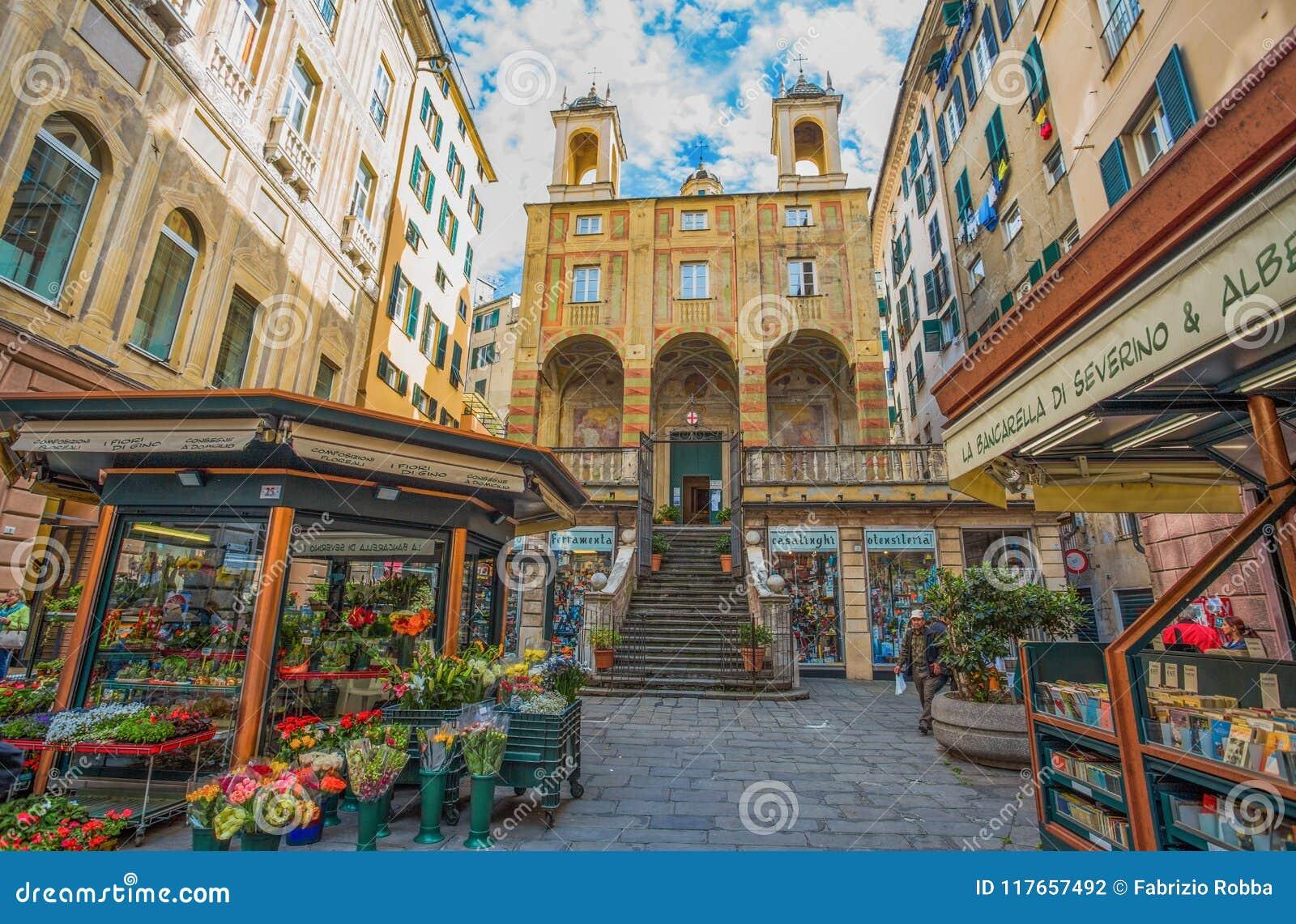 Сан Pietro St Peter в церков Banchi, в историческом центре Генуи, Genova, Италия