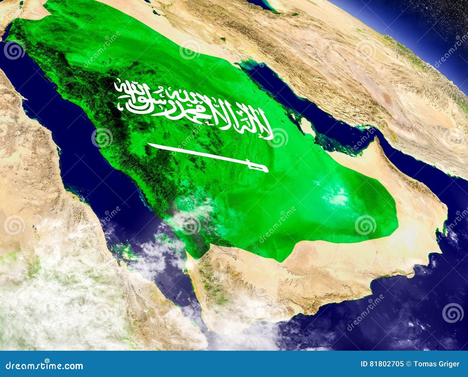 Саудовская Аравия с врезанным флагом на земле