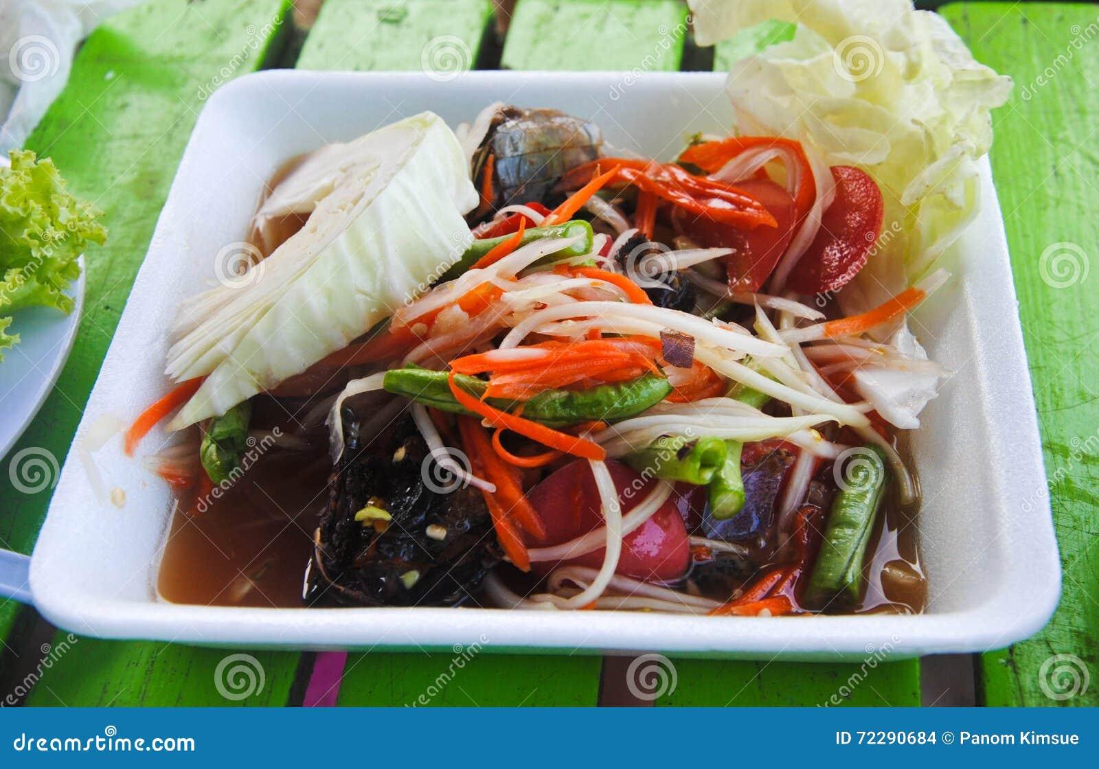 Download Салат папапайи, тайский животик сома имени еды в коробке формы Стоковое Фото - изображение насчитывающей кухня, красно: 72290684