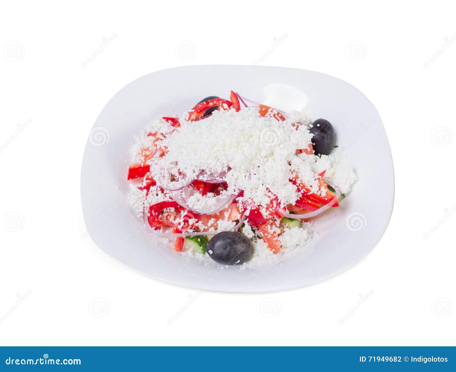 Салат свежего овоща с заскрежетанным сыром
