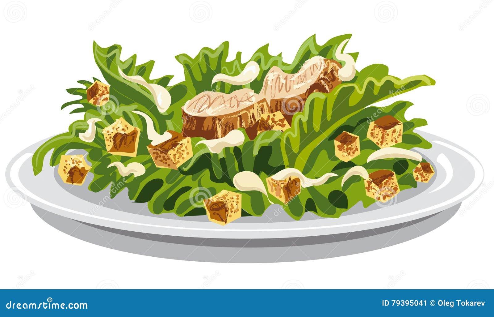 Салат цезарь с гренками