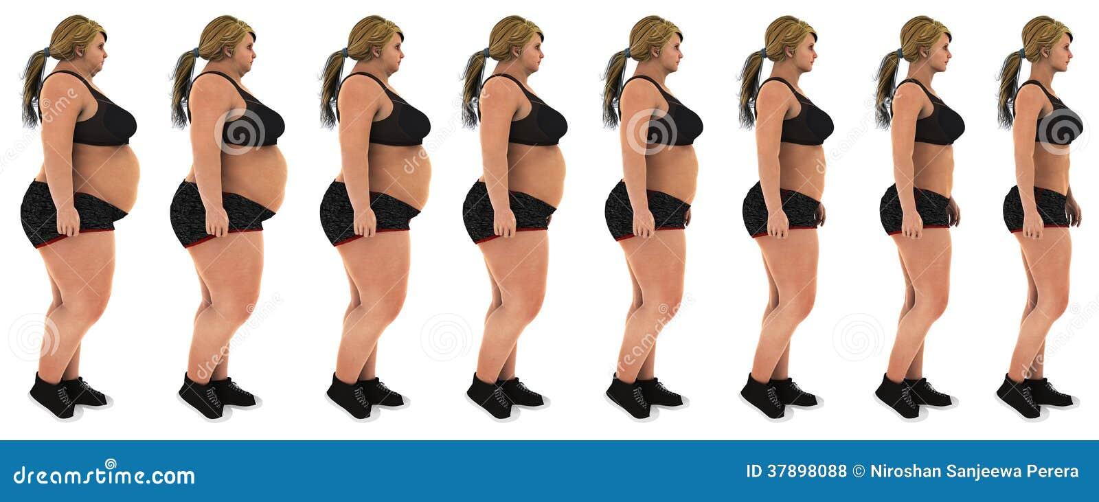 Сало для уменьшения съемки профиля преобразования потери веса женщины
