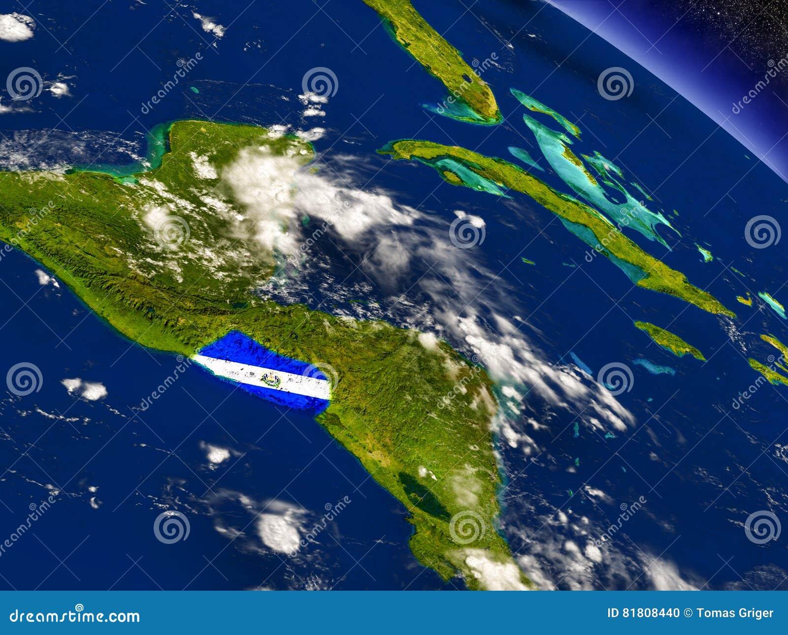 Сальвадор с врезанным флагом на земле