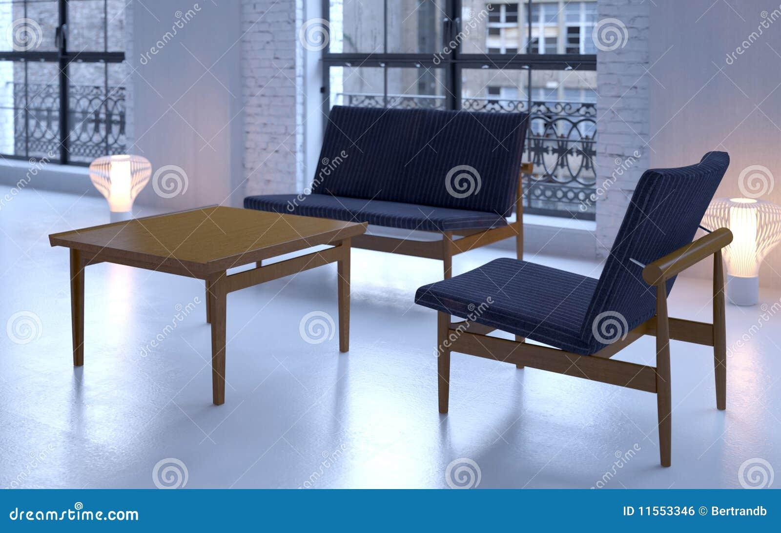 сбор винограда софы просторной квартиры стула