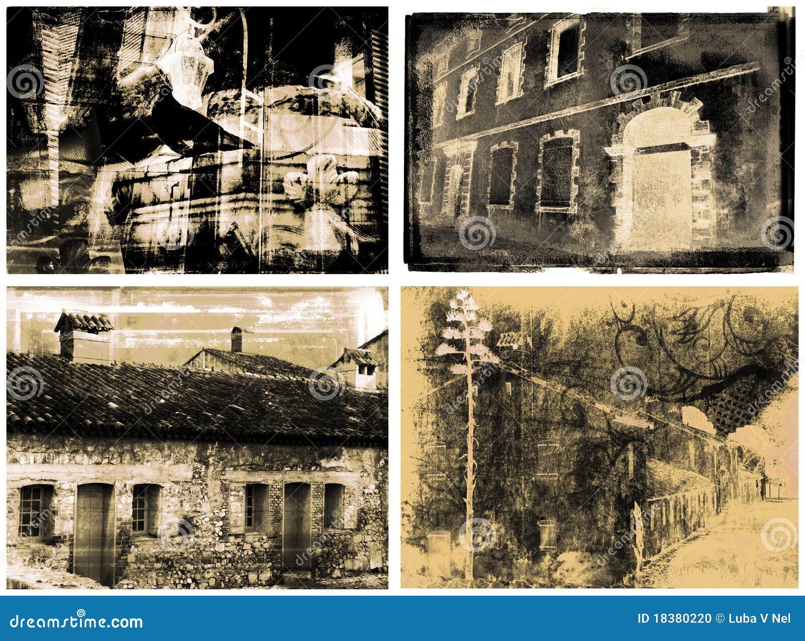 сбор винограда 4 иллюстраций зданий детальный