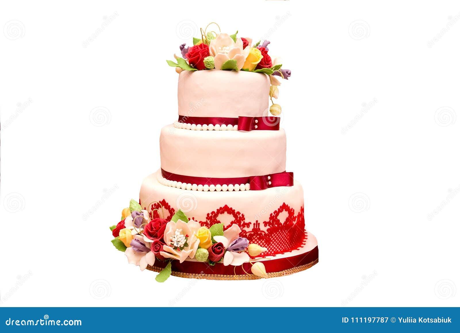 Свадебный пирог в бело-красном цвете с цветками