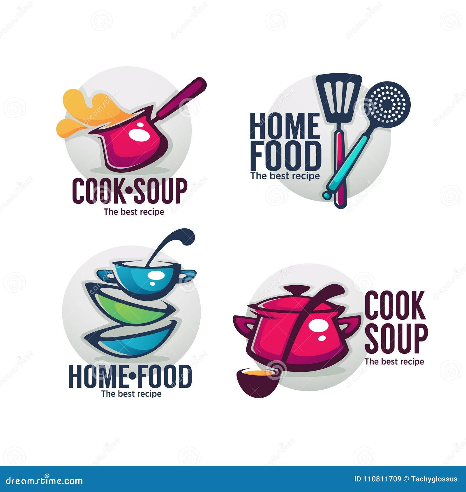 Сварите суп и домашнюю еду, собрание вектора шара вполне вкусного