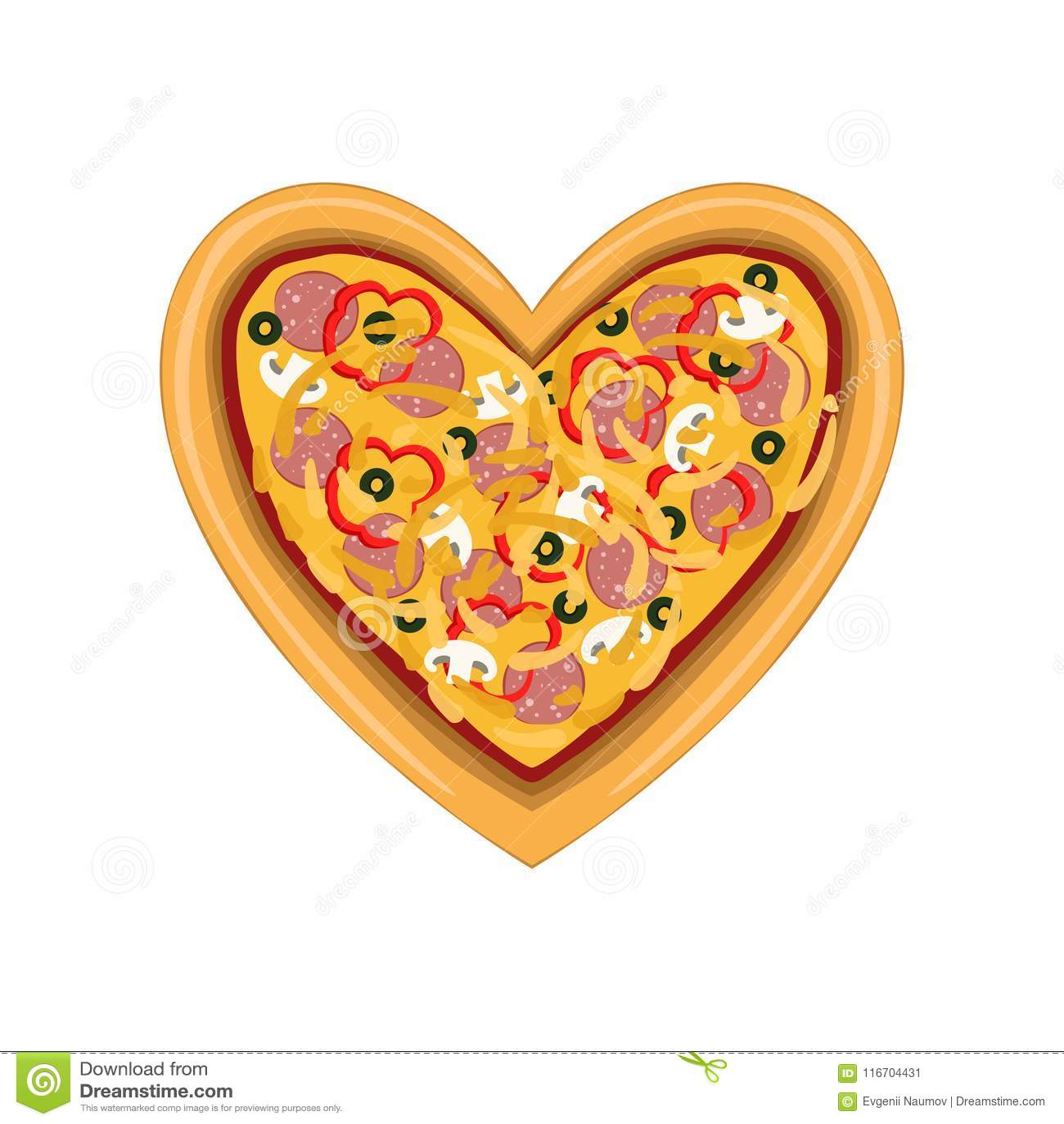 Свеже испеченная пицца в форме сердца, иллюстрации вектора взгляд сверху изолированной на белой предпосылке